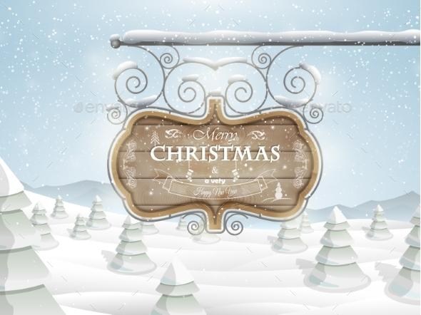 Board with Christmas Greeting - Christmas Seasons/Holidays