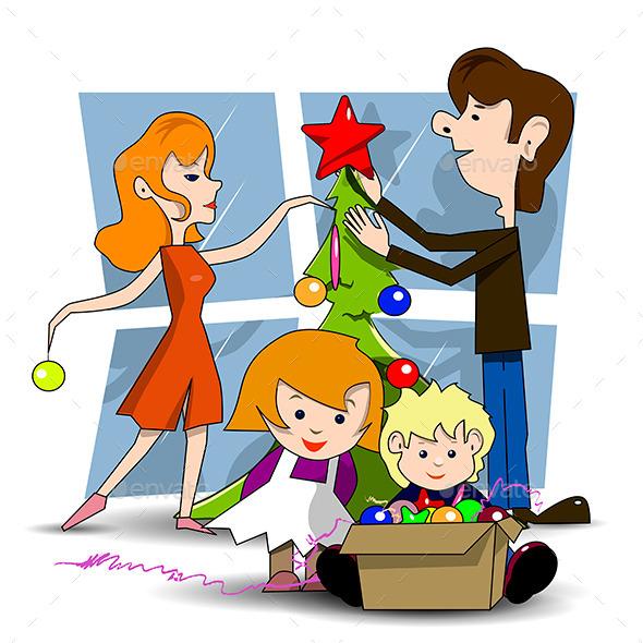 Decorating Christmas Tree - Christmas Seasons/Holidays