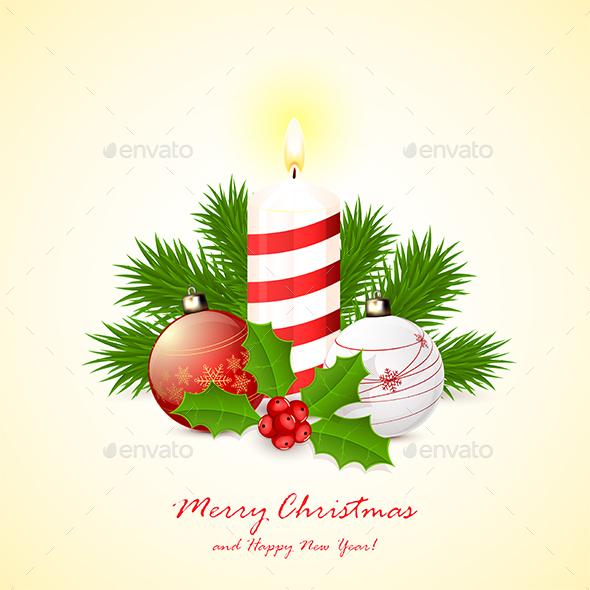 Candle with Christmas Balls - Christmas Seasons/Holidays