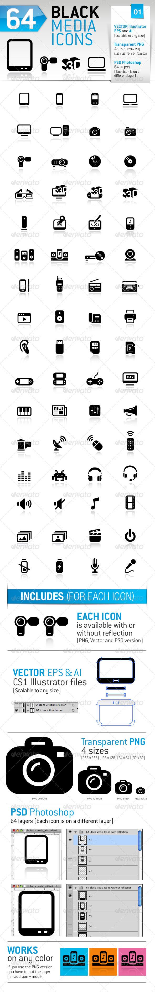64 Black Media Icons - Media Icons