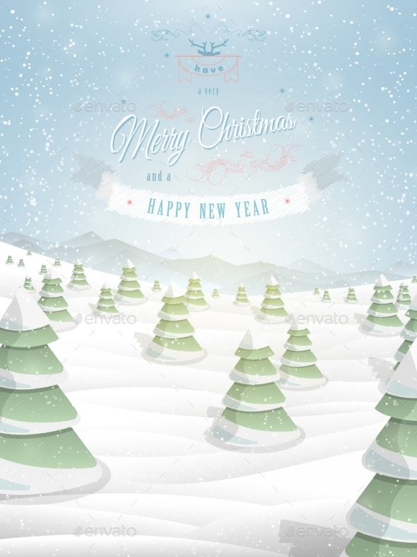 Christmas Greeting Template Vector Illustration.  - Christmas Seasons/Holidays