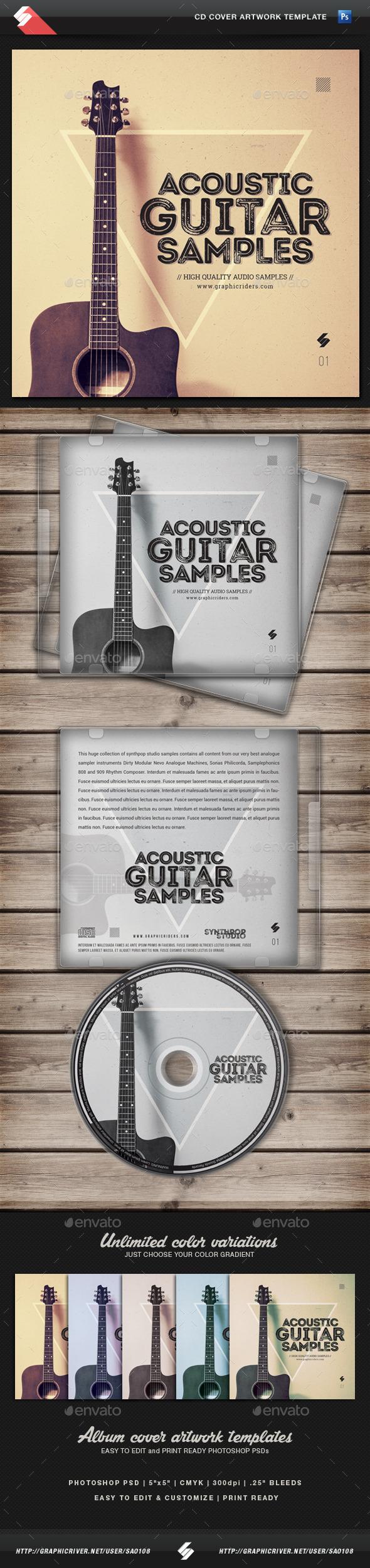 Acoustic Guitar Samples - CD Cover Template - CD & DVD Artwork Print Templates