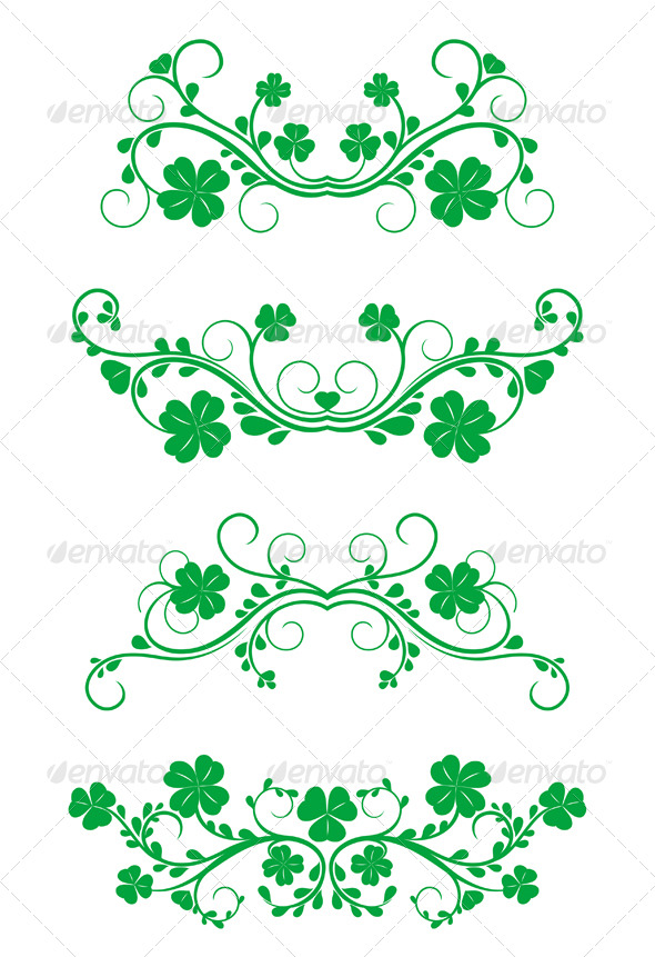 Floral frames with clover - Flourishes / Swirls Decorative
