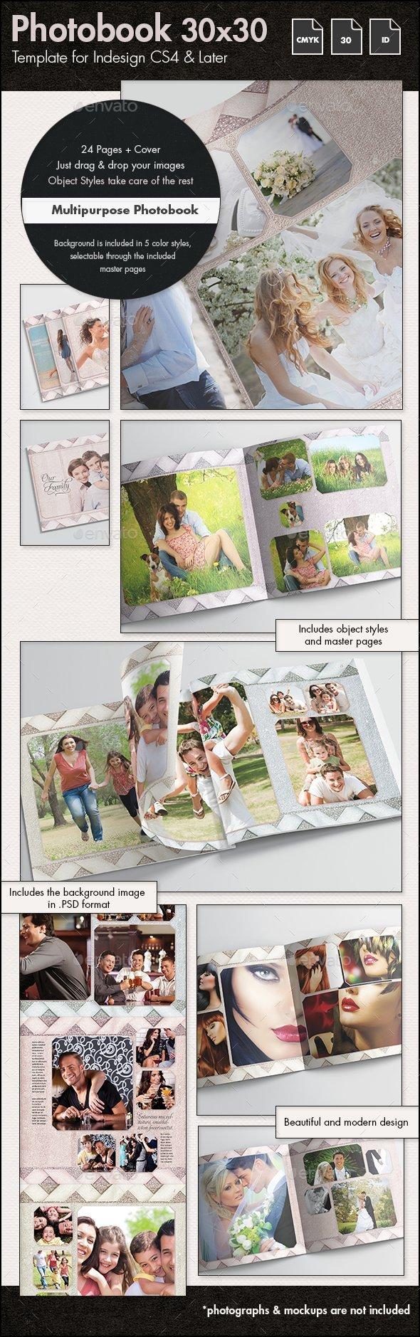 Multipurpose Photobook Album Template - 30x30cm - Photo Albums Print Templates