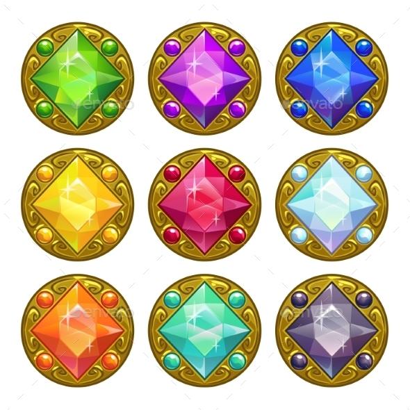 Colorful Round Golden Amulets - Decorative Symbols Decorative