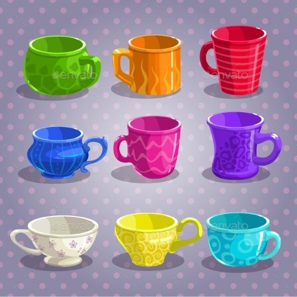 Colorful Cartoon Tea Cups Set - Patterns Decorative