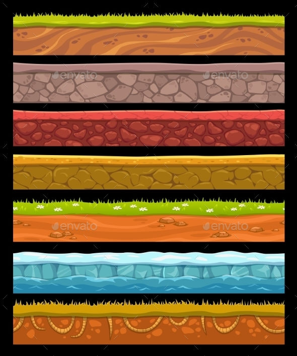 Seamless Landscape Elements Set - Landscapes Nature