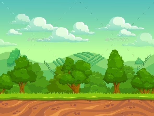 Cartoon Country Seamless Horizontal Landscape - Landscapes Nature