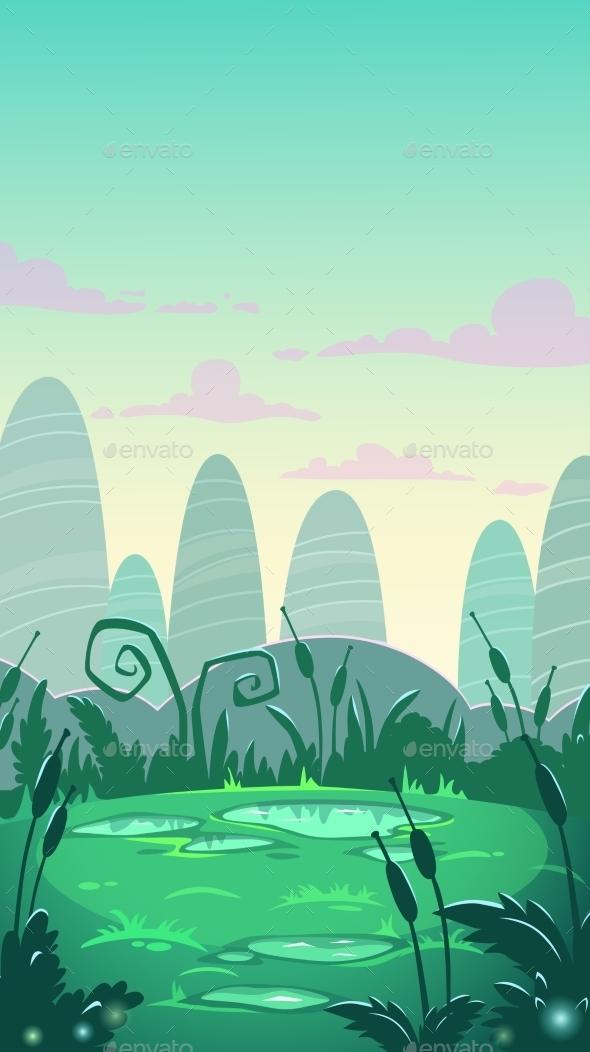 Cartoon Vertical Landscape Illustration - Landscapes Nature