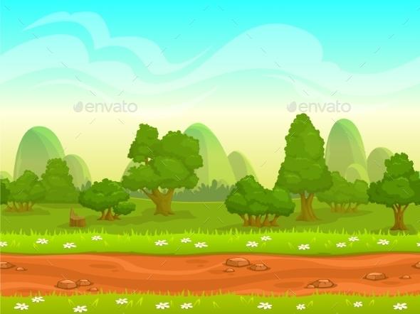 Cartoon Seamless Landscape - Landscapes Nature