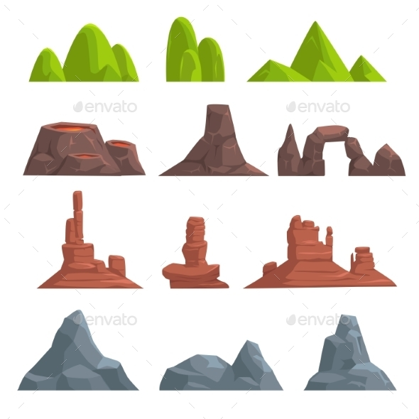 Cartoon Hills and Mountains Set - Backgrounds Decorative