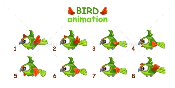 Cartoon Flying Green Parrot - Animals Characters