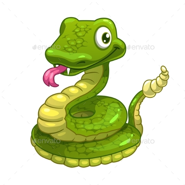 Cartoon Smiling Green Snake - Animals Characters