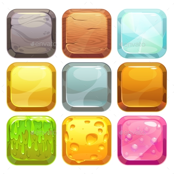 Cartoon Square Buttons Set - Web Technology