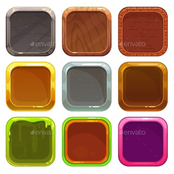 Set of Square App Icons - Web Technology