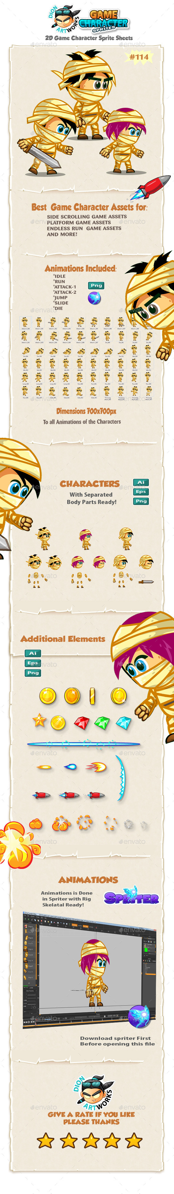 The Mummy Kids 2D Game Character Sprites 114 - Sprites Game Assets