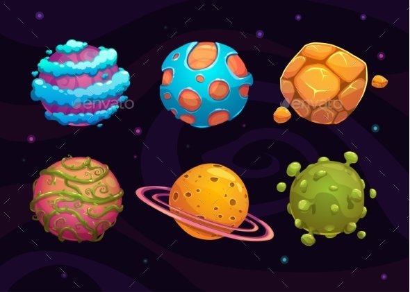 Set of Cartoon Fantasy Planets - Backgrounds Decorative