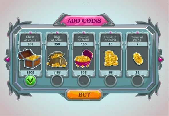 Add Coins Panel - Web Elements Vectors