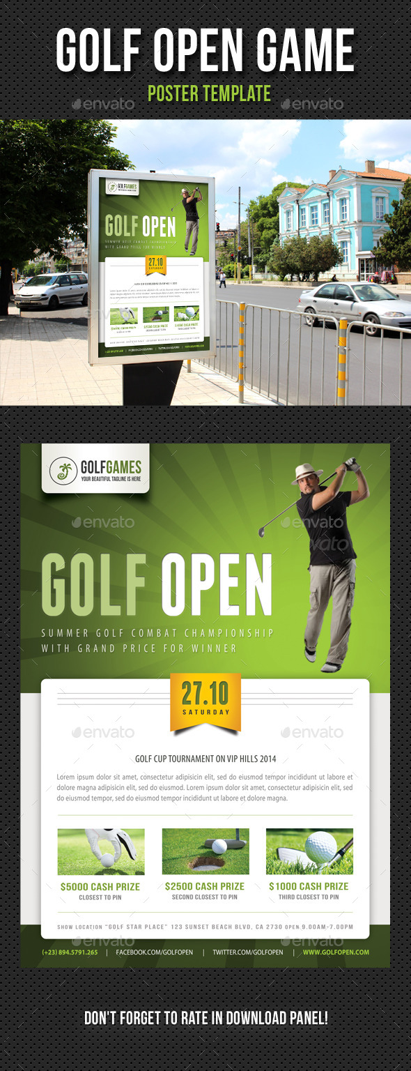 Golf Open Poster Template V01 - Signage Print Templates