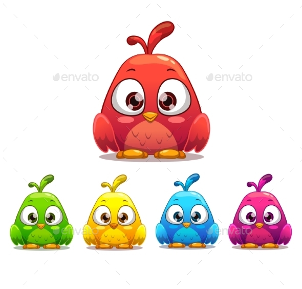 Little Cartoon Bird with Colorful Variants - Animals Characters
