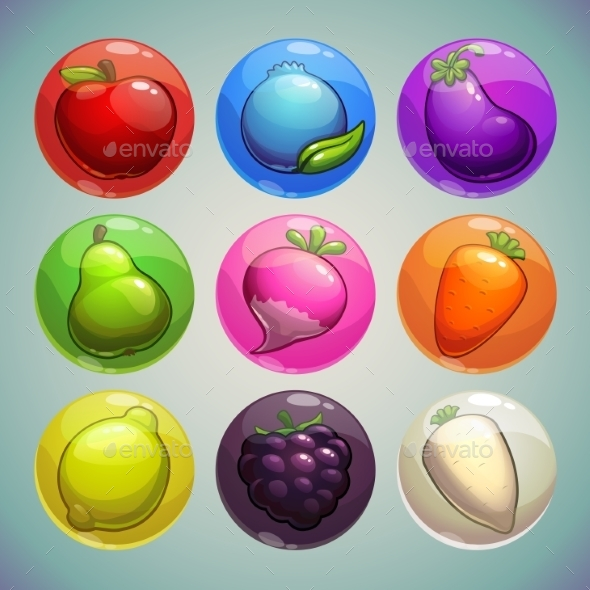 Set of Colorful Bubbles with Fruits and Vegetables - Food Objects