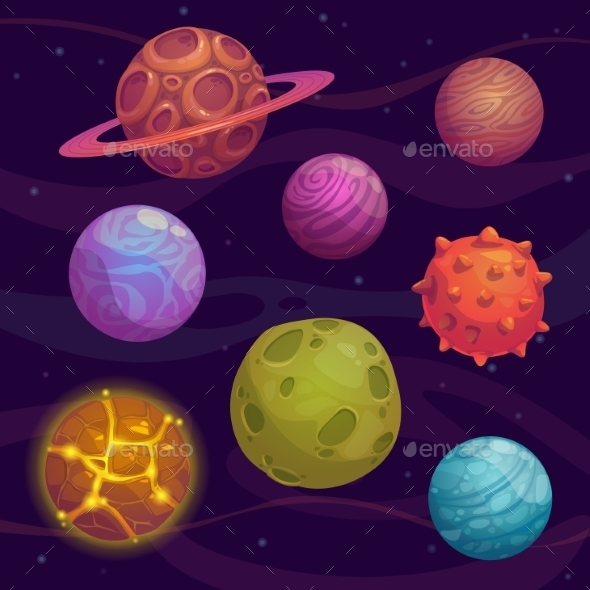 Set of Cartoon Planet - Travel Conceptual