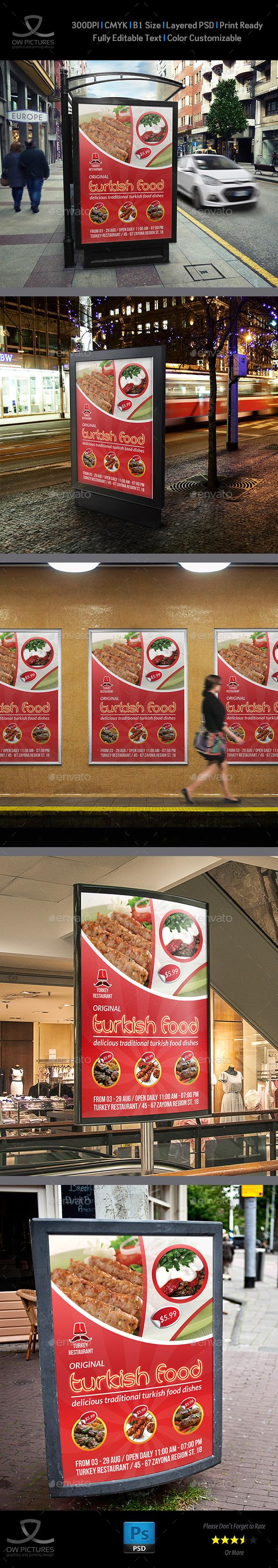 Turkish Restaurant Poster Template - Signage Print Templates