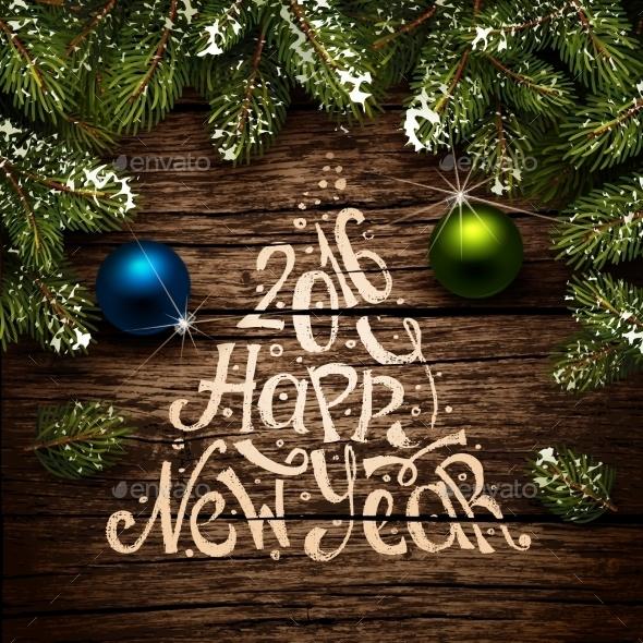 Christmas Typography on Wooden Texture - Christmas Seasons/Holidays