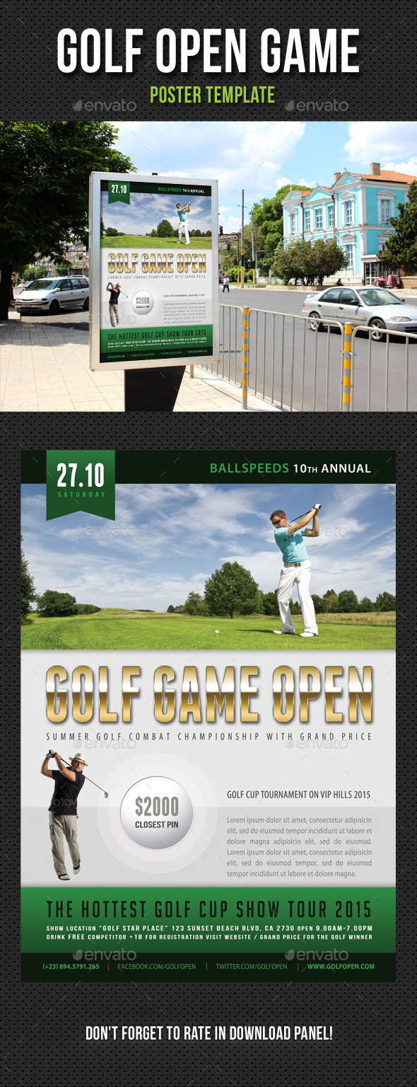 Golf Open Poster Template V03 - Signage Print Templates