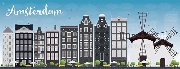 Amsterdam City Skyline - Buildings Objects