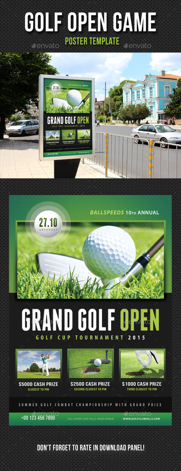 Golf Open Poster Template V04 - Signage Print Templates