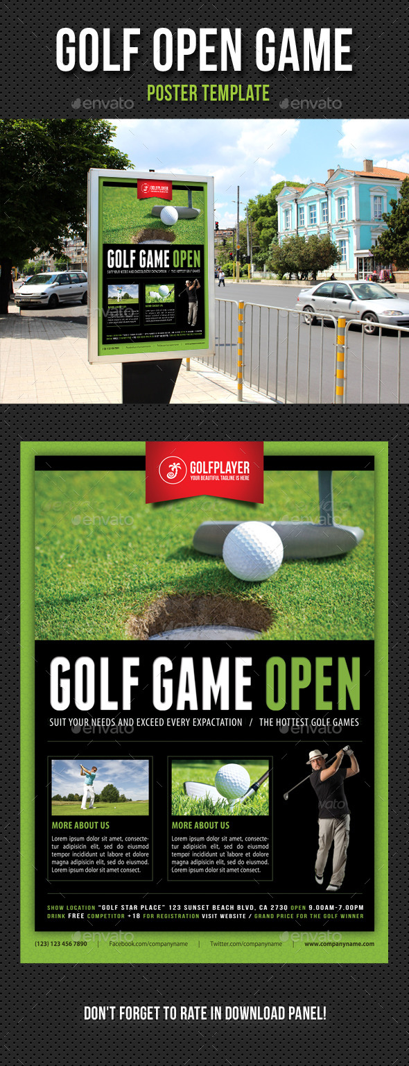Golf Open Poster Template V05 - Signage Print Templates