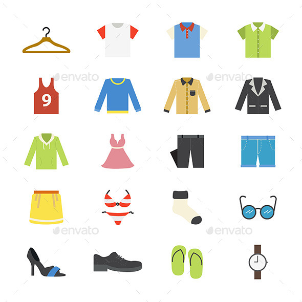 Cloth and Accessory Flat Icons Color - Man-made objects Objects