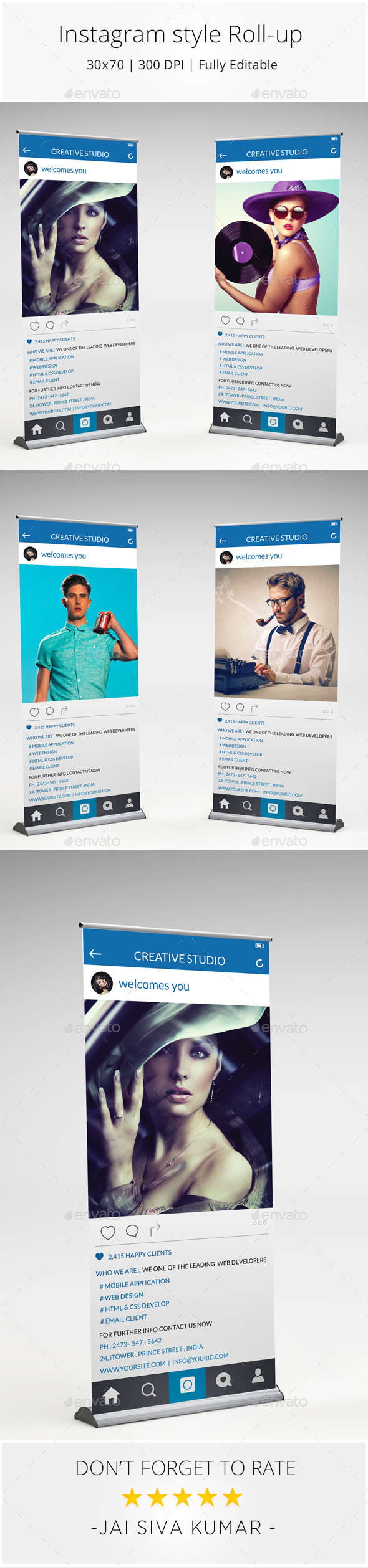 Instagram Style Rollup Banner - Signage Print Templates