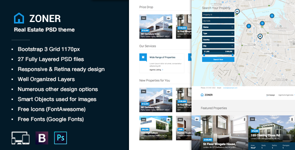 Zoner - Real Estate PSD theme