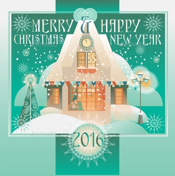 Christmas Design With House, Winter Landscape.  - Christmas Seasons/Holidays