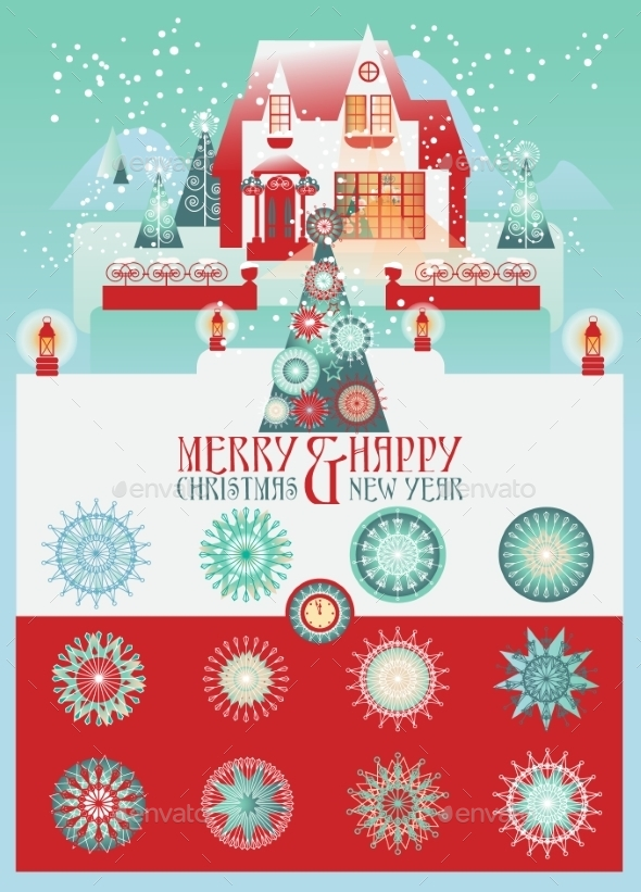 Christmas Vector Set With House And Snowlakes .  - Christmas Seasons/Holidays
