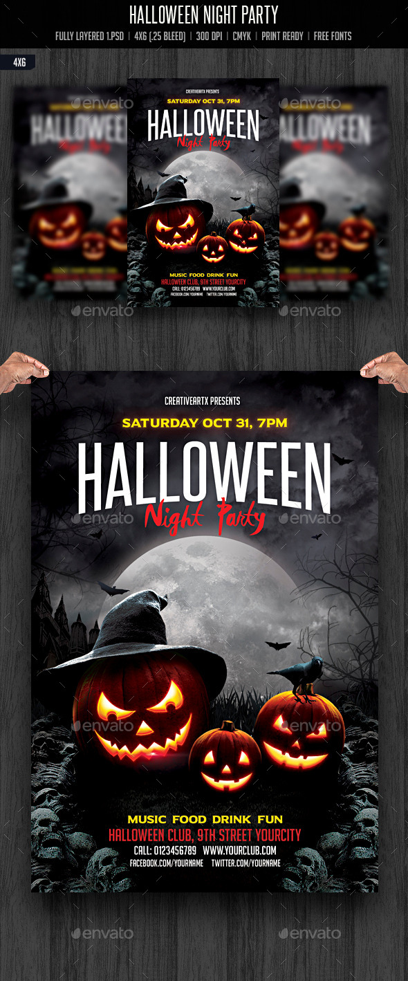 Halloween Night Party - Events Flyers