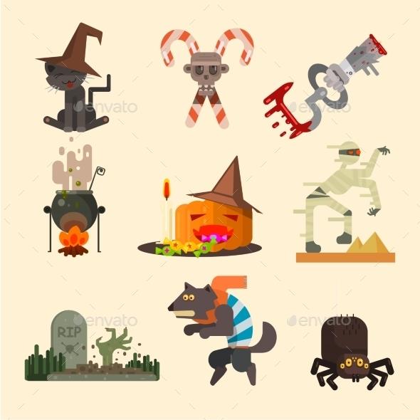 Halloween Set in Flat Style - Halloween Seasons/Holidays