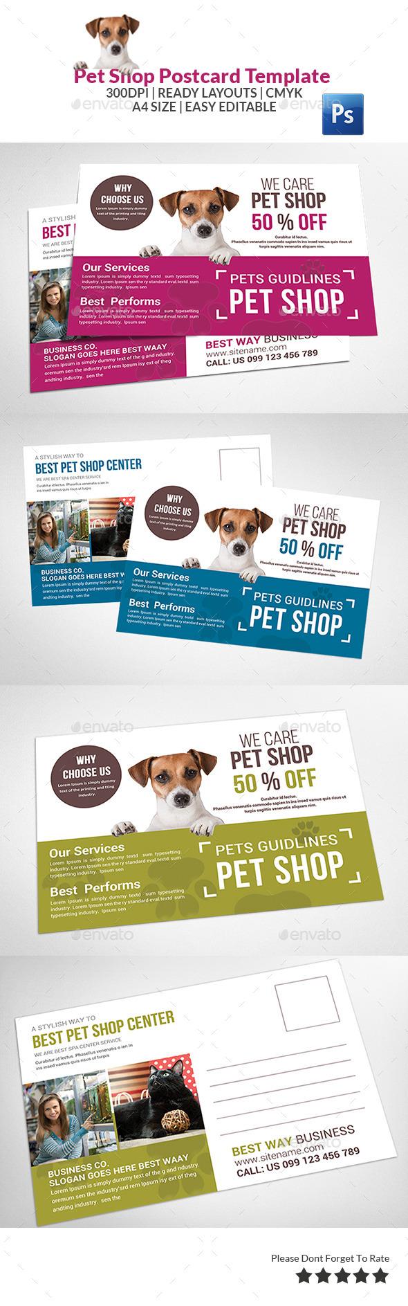Pet Shop Postcard Template  - Cards & Invites Print Templates