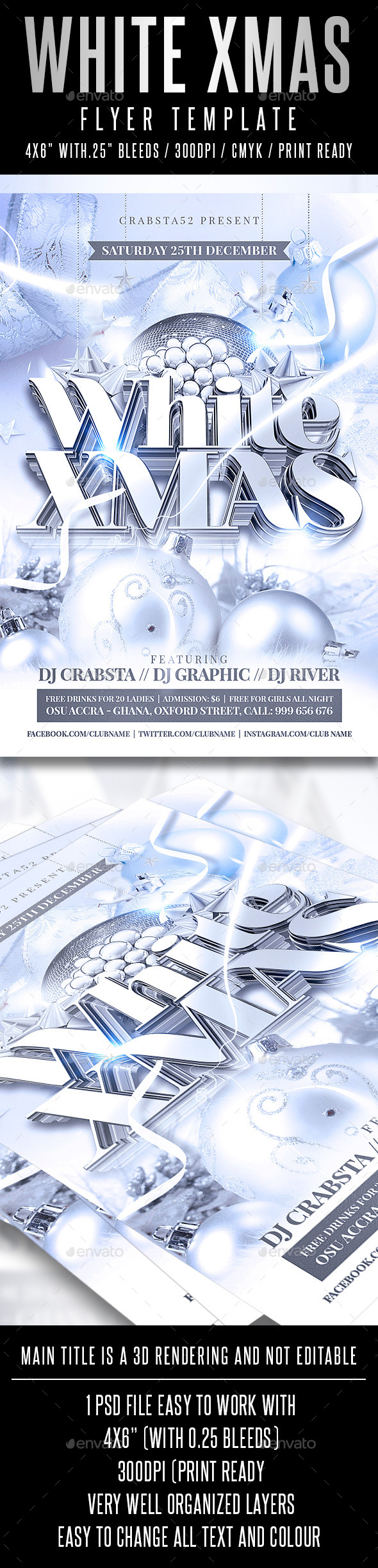 White Xmas Flyer Template - Holidays Events