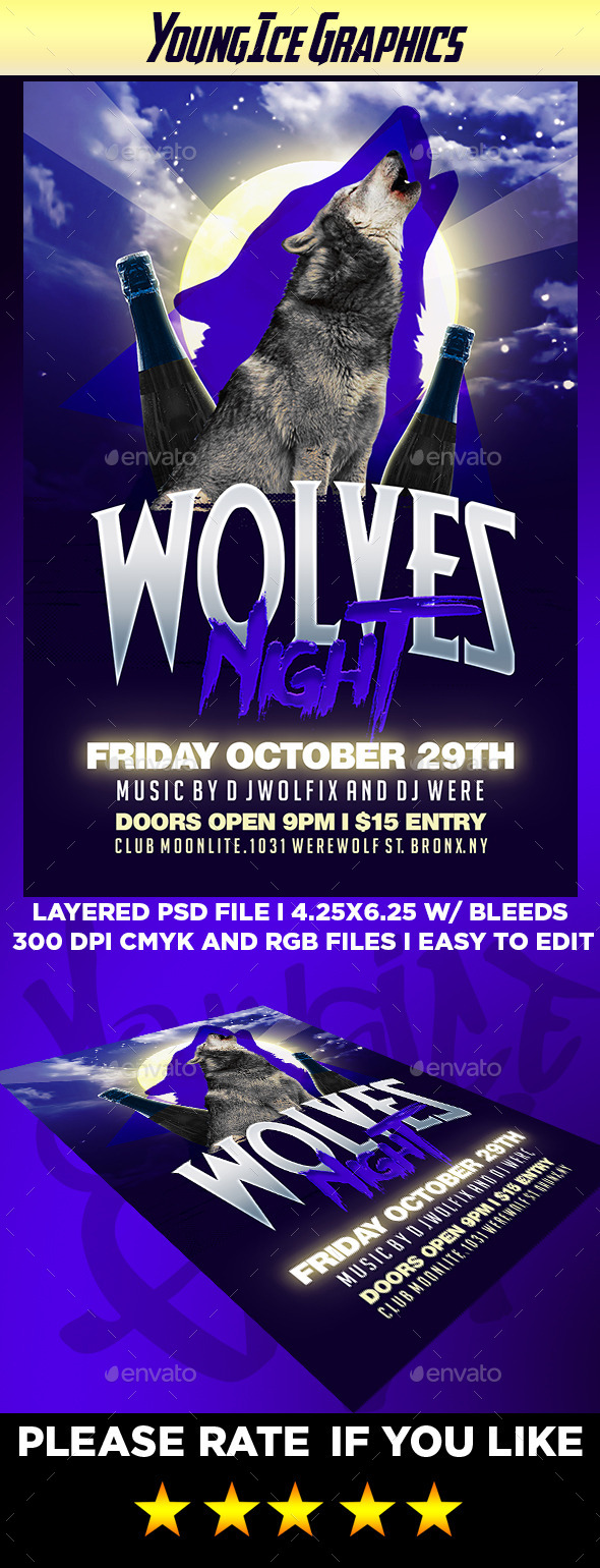 Wolves Night Flyer Template - Clubs & Parties Events