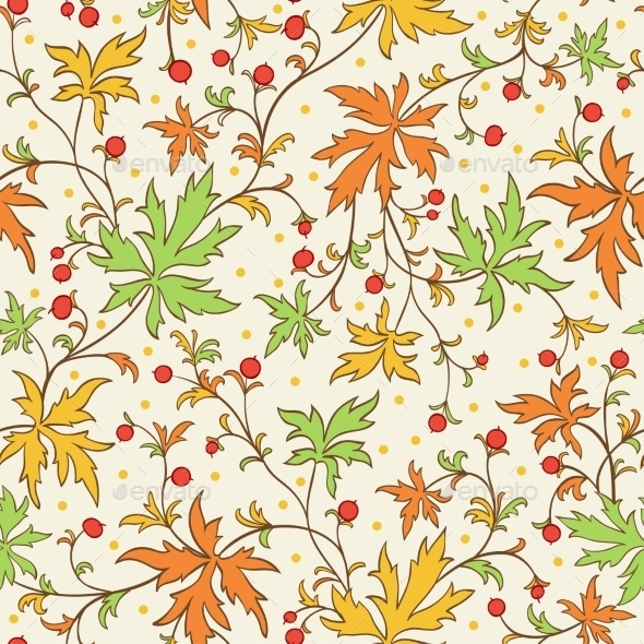 Seamless Texture with Leafs and Berries - Patterns Decorative