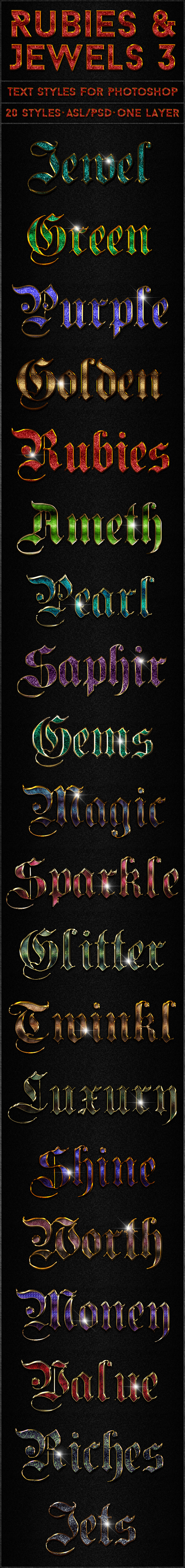 Rubies & Jewels 3 - Text Styles - Text Effects Styles