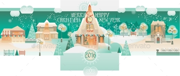 Vintage Christmas Banner With Eve Cityscape  - Christmas Seasons/Holidays