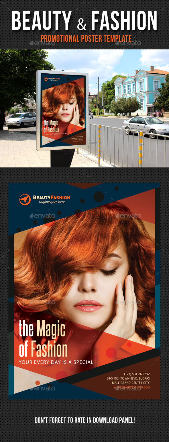 Beauty and Fashion Poster Template V03 - Signage Print Templates