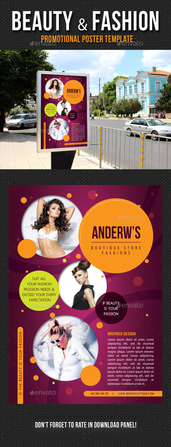 Beauty and Fashion Poster Template V04 - Signage Print Templates
