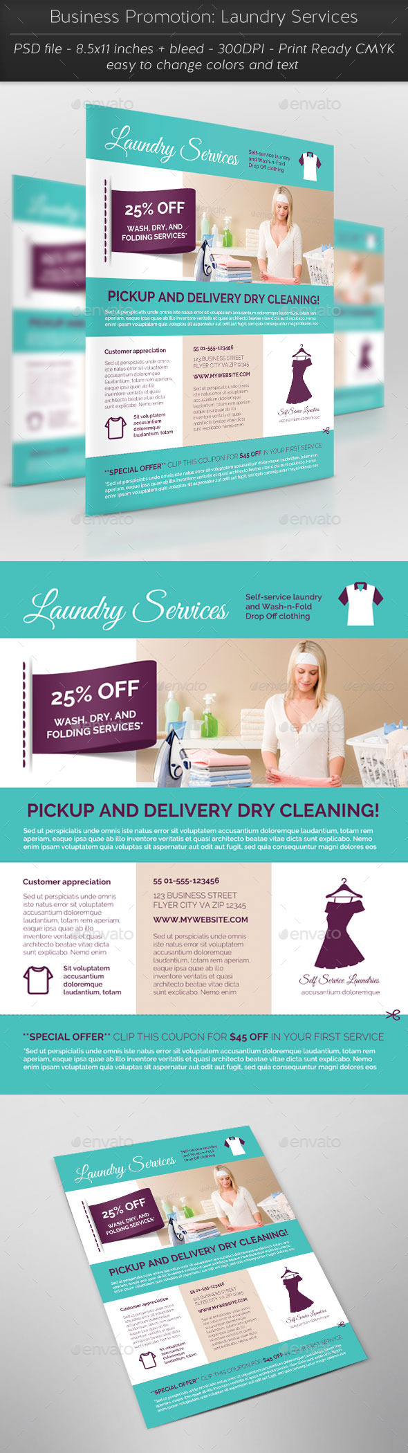 Business Promotion: Laundry Services - Flyers Print Templates