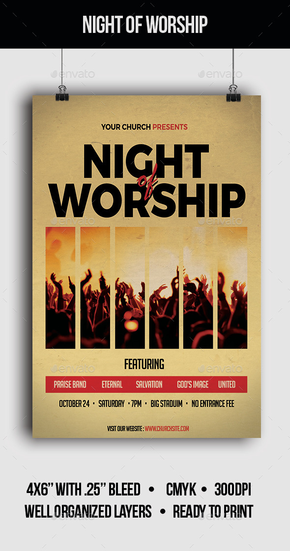 Night of Worship - Flyer - Church Flyers
