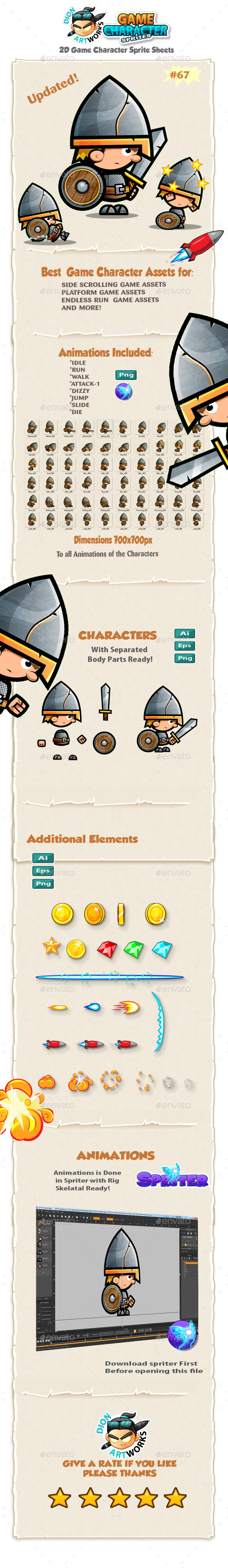 Knight Warrior 2D Game Character Sprites 67 - Sprites Game Assets